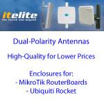 Antenas ITelite de polaridad dual con caja para RouterBoard o Rocket