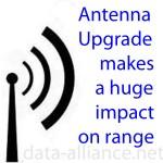Una actualización de antena resultará en un incremento en el alcance: un pequeño incremento de dBm multiplicara la potencia y el alcance de la señal de un punto de acceso o un adaptador WiFi USB. Vea la tabla de múltiplos para incrementar la potencia y tener incrementos consecuentes en dB.