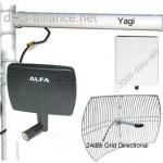Las antenas direccionales se enfocan en el haz para mayores distancias. El tener un haz más estrecho reduce el ruido de señal e interferencia proveniente de otra señales de WiFI.
