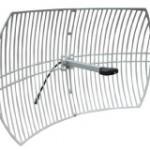 Para enlaces punto a punto, utilice antenas parabólicas: en disco o en malla. Esta es una antena de malla.