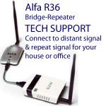Soporte técnico para sistema de puente-repetidor Alfa R36: R36 y AWUS036H combinados alcanzarán una señal de WiFi distante y repetirán la señal a su red local en su casa, oficina, vehículo recreacional o bote.